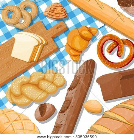 Bread Icons Set On Table. Whole Grain, Wheat And Rye Bread, Toast, Pretzel, Ciabatta, Croissant, Bag