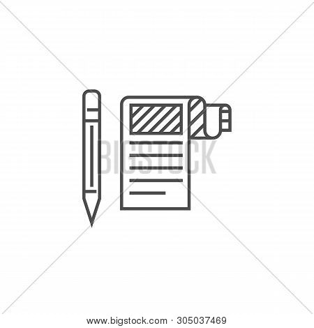 Article Submission Related Vector Thin Line Icon. Isolated On White Background. Editable Stroke. Vec