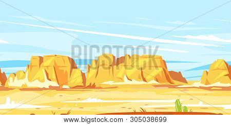 Desert Landscape With High Rocky Canyon In The Distance In Sunny Day Landscape Game Background Tilea