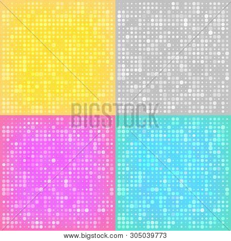 Abstract Disco Backgrounds With The Circles. Set Of Colorful Halftone Backgrounds. Abstract Gold  Ba
