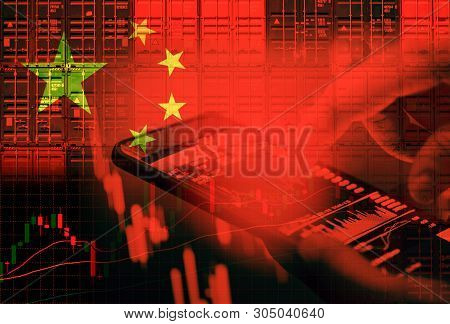 China Stock Market / Shanghai Stock Exchange Crisis Economy And Trade War - Businessman Use Smartpho