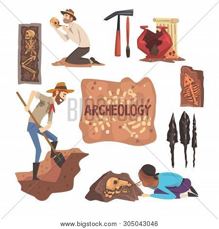 Archeology And Paleontology Set, Scientist Working On Excavations, Archaeological Artifacts Vector I