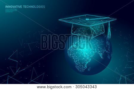 E-learning Distance Graduate Certificate Program Concept. Low Poly 3d Render Graduation Cap On Plane