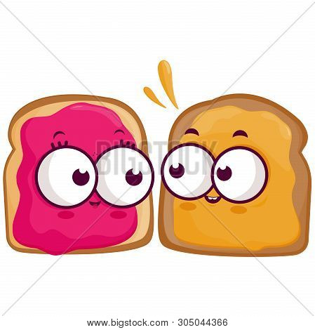 Cartoon Slices Of Bread With Peanut Butter And Jelly. Vector Illustration