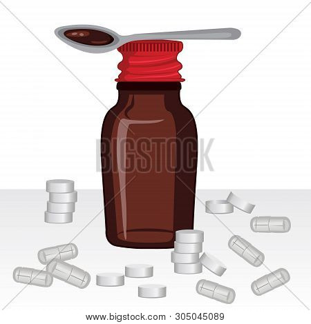 Bottle Of Homeopathic Remedy Syrop And A Spoon With Remedy Mixture. Medicine Pills And Capsules Vect