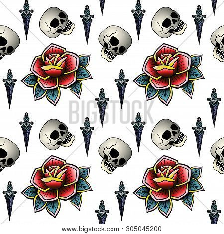 Old School Retro Vintage Doodle Tattoo Seamless Pattern.rose, Skull, Knife,continuous Openwork Emble