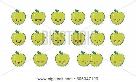 Green Apple Cute Kawaii Mascot. Set Kawaii Food Faces Expressions Smile Emoticons.