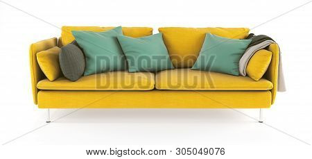 Modern Scandinavian Yellow Sofa With Legs With Emerald Green Pillows And Plaid On Isolated White Bac