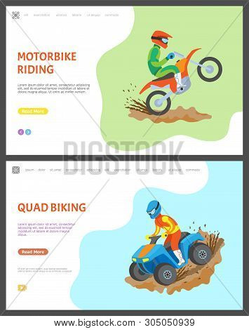 Motorbike And Quad Biking Vector, People Riding Bikes In Dirt And Mud, Competition Race And Challeng