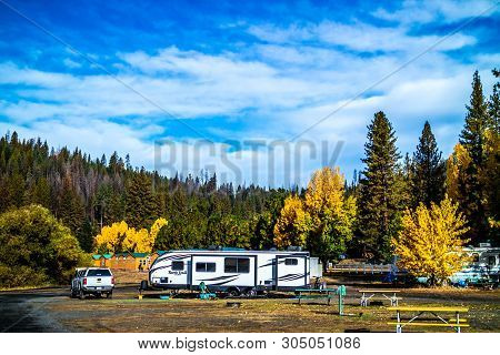 Yosemite National Park, Ca, Usa - October 20, 2017: Enjoying The Captivated View From Our Rv