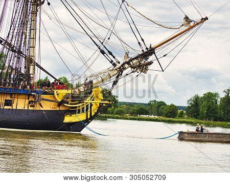 Rives En Seine, France - June 5, 2019. Prow Of Hermione Sailing Very Old Boat On The River Seine, Fr