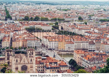 Lyon, France - May 9, 2019. City View Of Lyon France. Place Bellecour.