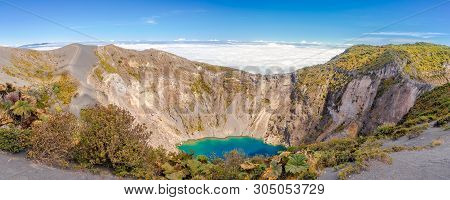 Panoramic View To The Edge Of Crater Irazu Volcano At Irazu Volcano National Park, Costa Rica