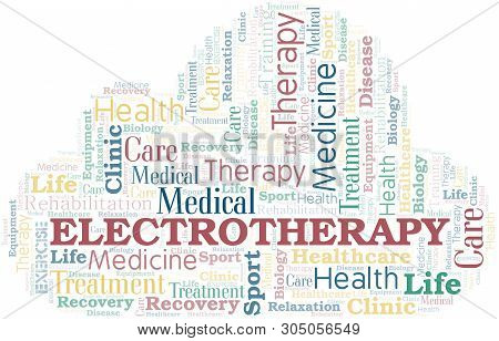 poster of Electrotherapy word cloud. Wordcloud made with text only.