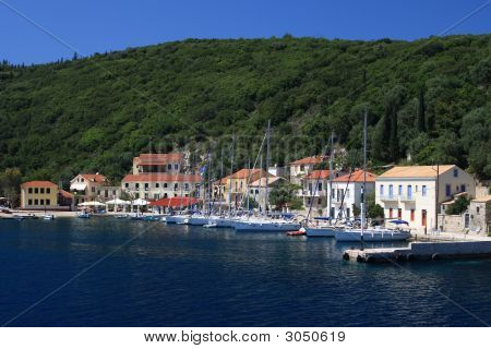 The harbour at Fiskardo on the greek island of Kefalonia poster