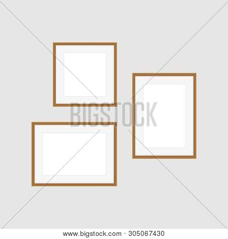 Collage Picture Frames On Gray Wall, Collection Of Portrait Frame Set, Mock Up Template Picture Fram
