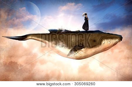 Surreal Scene Of A Flying Humpback Whale And A Woman Standing On Top, With A Grundge Texture, 3d Ren