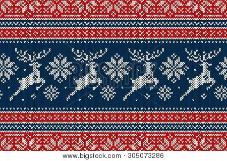 Christmas Knitting Pattern With Reindeers And Snowflakes. Scheme For Wool Knit Winter Holiday Sweate