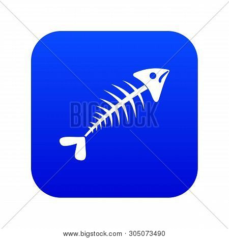Fish Bone Icon Digital Blue For Any Design Isolated On White Vector Illustration