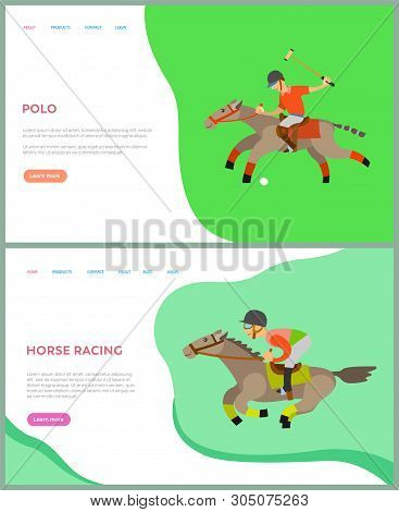 Horse Racing, Polo Sports, Jockey Riding By Horseback, Side View Of People On Animal, Males In Helme