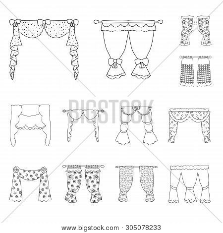 Vector Design Of Fabric And Decoration Symbol. Set Of Fabric And Cornice Vector Icon For Stock.