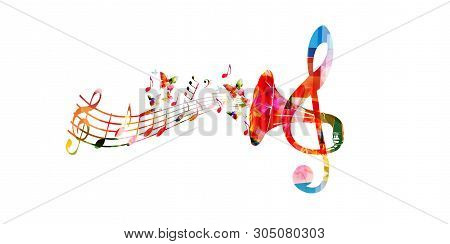 Colorful G-clef With Gramophone Horn Isolated Vector Illustration Design. Music Background. Retro Ph
