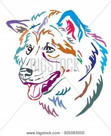 Colorful Decorative Outline Portrait Of Alaskan Malamute Dog Looking In Profile, Vector Illustration