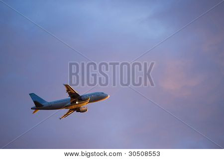 Large Passenger Airplane Taking Off
