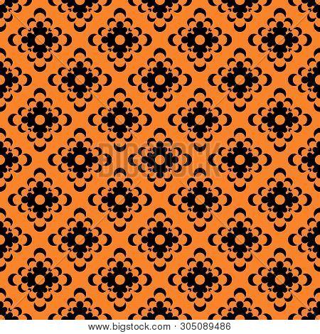 Simple Doily Seamless Vector Pattern. Monochromatic Pattern Elenemts On Black Background.