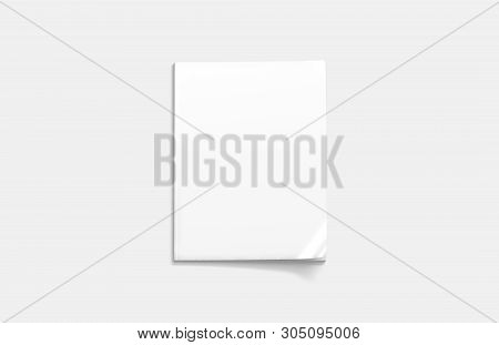Blank White Closed Magazine Mockup, A4 Top View, 3d Rendering, Isolated. Clean Notebook Mock Up With