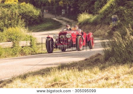 Pesaro Colle San Bartolo , Italy - May 17 - 2018 : Aston Martin 2 Litre Speed Model 1936 On An Old R