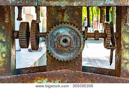 Stock Photo Engine Gears Wheels Closeup View