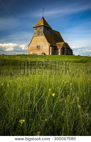 English Church In Rural Setting On Sunny Day In Kent