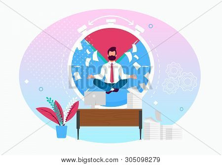 Vector Illustration Calm In Workplace Cartoon Flat. Man Meditates In Workplace Against Background Ci