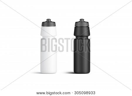Blank Black And White Plastic Sport Bottle Mock Up, Front View, Isolated, 3d Rendering. Clear Reusab