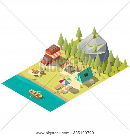 Campground On Forest River Or Lake Shore Isometric Vector With Camping Van, Tourist Tent, Fireplace,