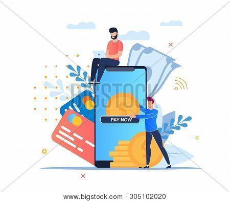 Vector Illustration Online Payment Cartoon Flat. Online Application For Online Payment Via Mobile Ph