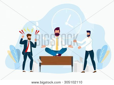 Professional Stress Management At Work Cartoon. Subordinate Laughs At Boss In Anger. Managing Emotio