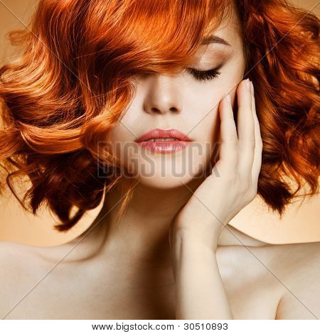 Beauty Portrait. Curly Hair