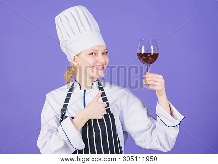 Right Choice Of Wine Glass. Happy Sommelier Showing Thumbs Up Gesture With Wine Glass In Hand. Profe
