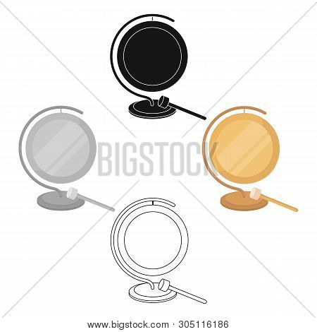 Boxing Gong Icon In Cartoon, Black Style Isolated On White Background. Boxing Symbol Stock Vector Il
