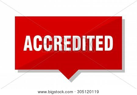 Accredited Red Square Price Tag On White Background
