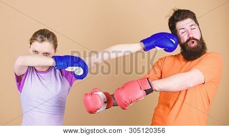 Amateur Boxing Club. Equal Possibilities. Strength And Power. Family Violence. Man And Woman In Boxi