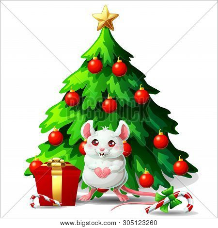 Cute White And Pink Mouse Ang Fir Tree On White