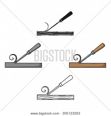 Chisel Icon In Cartoon, Black Style Isolated On White Background. Sawmill And Timber Symbol Stock Ve