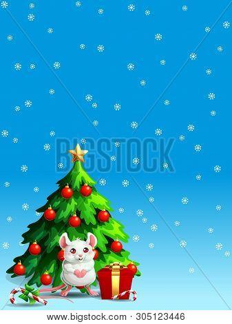 Cute White Mouse Ang Fir Tree Vert