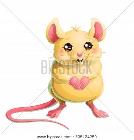 The Cute Yellow Mouse On White Background