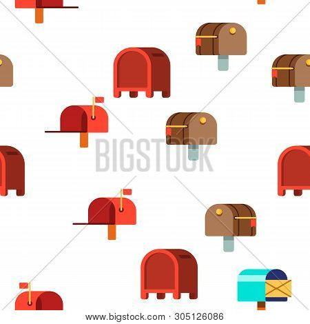 Mail Box, Post Linear And Flat Vector Icons Seamless Pattern. Mailboxes, Sending Letters, Correspond