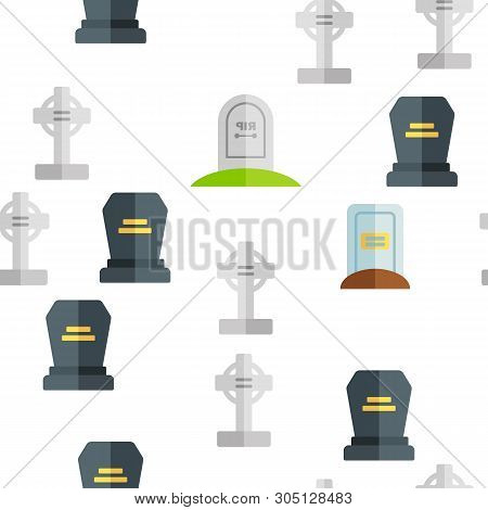 Headstone, Gravestone, Tombstone Vector Color Icons Seamless Pattern. Headstone, Granite Grave, Cross Linear Symbols Pack. Christian Burial Tradition. Cemetery, Graveyard Illustration poster