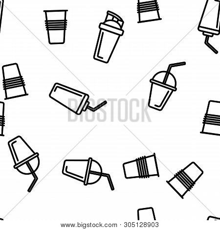 Disposable Plastic Cup Linear Vector Icons Seamless Pattern. Coffee To Go Cup Thin Line Contour Symb